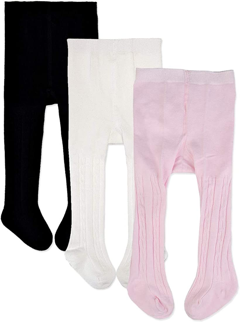 Pack of 3 Epeius Baby Girls Seamless Cable Knit Tights