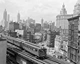 An 8 x 10 Photo Framed The Third Avenue Elevated Train Rumbles Across Lower Manhattan
