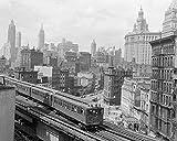 An 8 x 10 Photo Framed The Third Avenue Elevated Train Rumbles Across Lower Manhattan