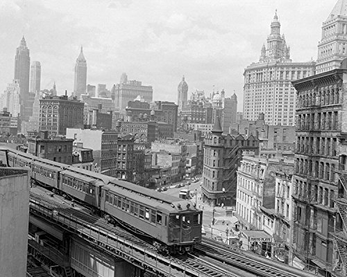 An 8 x 10 Photo Framed The Third Avenue Elevated Train Rumbles Across Lower Manhattan by Celebrity Framed Art