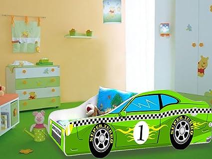 Cama infantil Coche de F1 Verde de colchón somier 160 x 80 cm ...