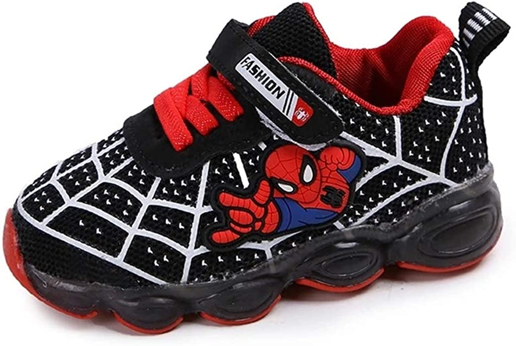 Children Kids Boys Girls LED Trainers Shoes Flashing Light Up Sneakers Spiderman
