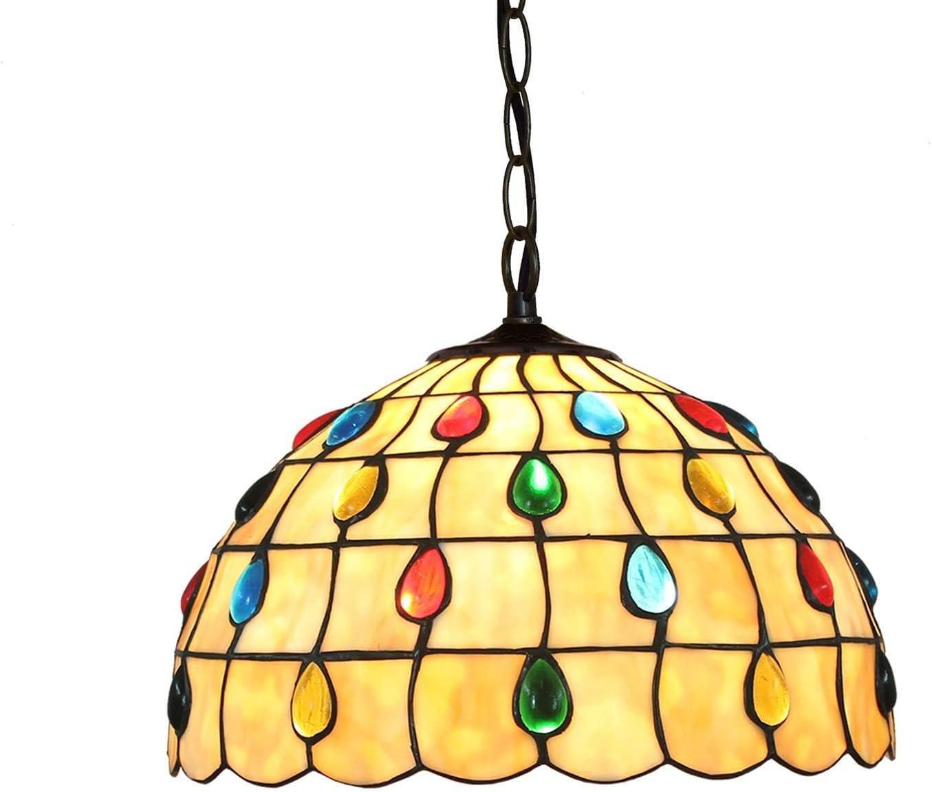 DALUXE Tiffany luz Pendiente, Colgante de Perlas de Cristal de la lámpara de Cola de Phoenix lámparas 11.8 de la Manga para Office Cámara Restaurante Café Techo