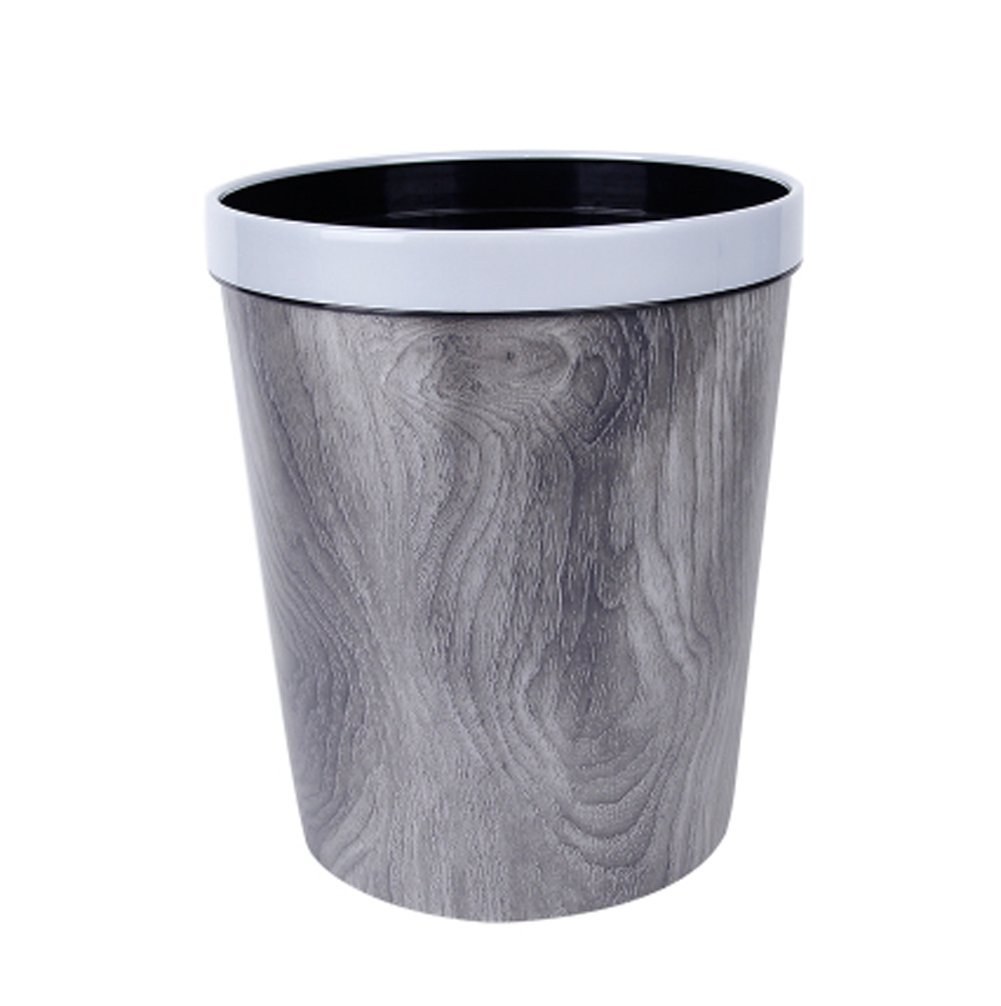 Kitchen Waste Bins Plastic Wood Grain Trash Can Bedroom/Office/Kitchen/Living Room/Toilet Trash Can-9.8 X 9.8 X 11.8 Inch (Grey-B)