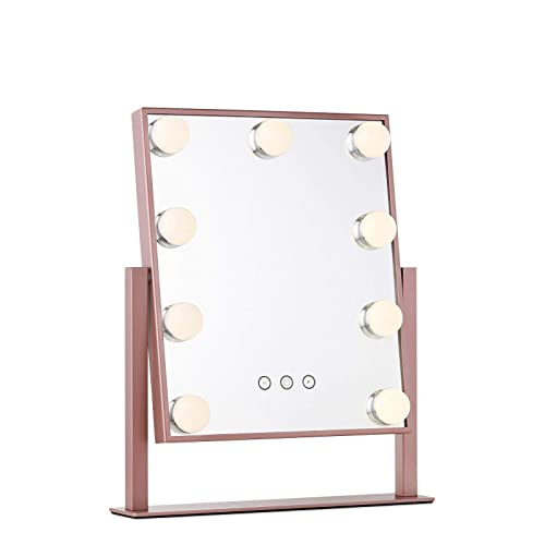 Vanity Makeup Mirror with Hollywood Lights – LED Lighted Make Up Vanity for Cosmetics – Professional Tabletop Beauty Mirror – ROSE GOLD