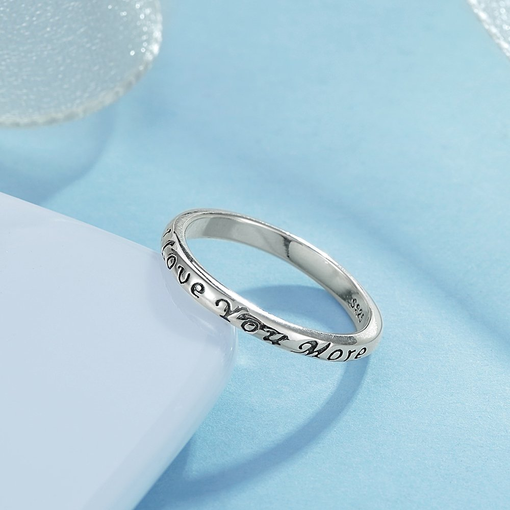 Tongzhe 3mm I Love You More Wedding Band Ring in Antique Sterling Silver 925 with US Size 6 by Tongzhe (Image #4)