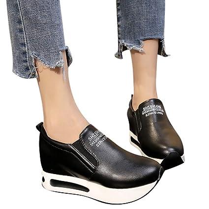 Bestow Cuñas de Cabeza Redonda para Mujeres con Cojines en la Plataforma para Aumentar los Zapatos oscilantes Planos de Fondo Grueso Lady Flat Shoes: ...