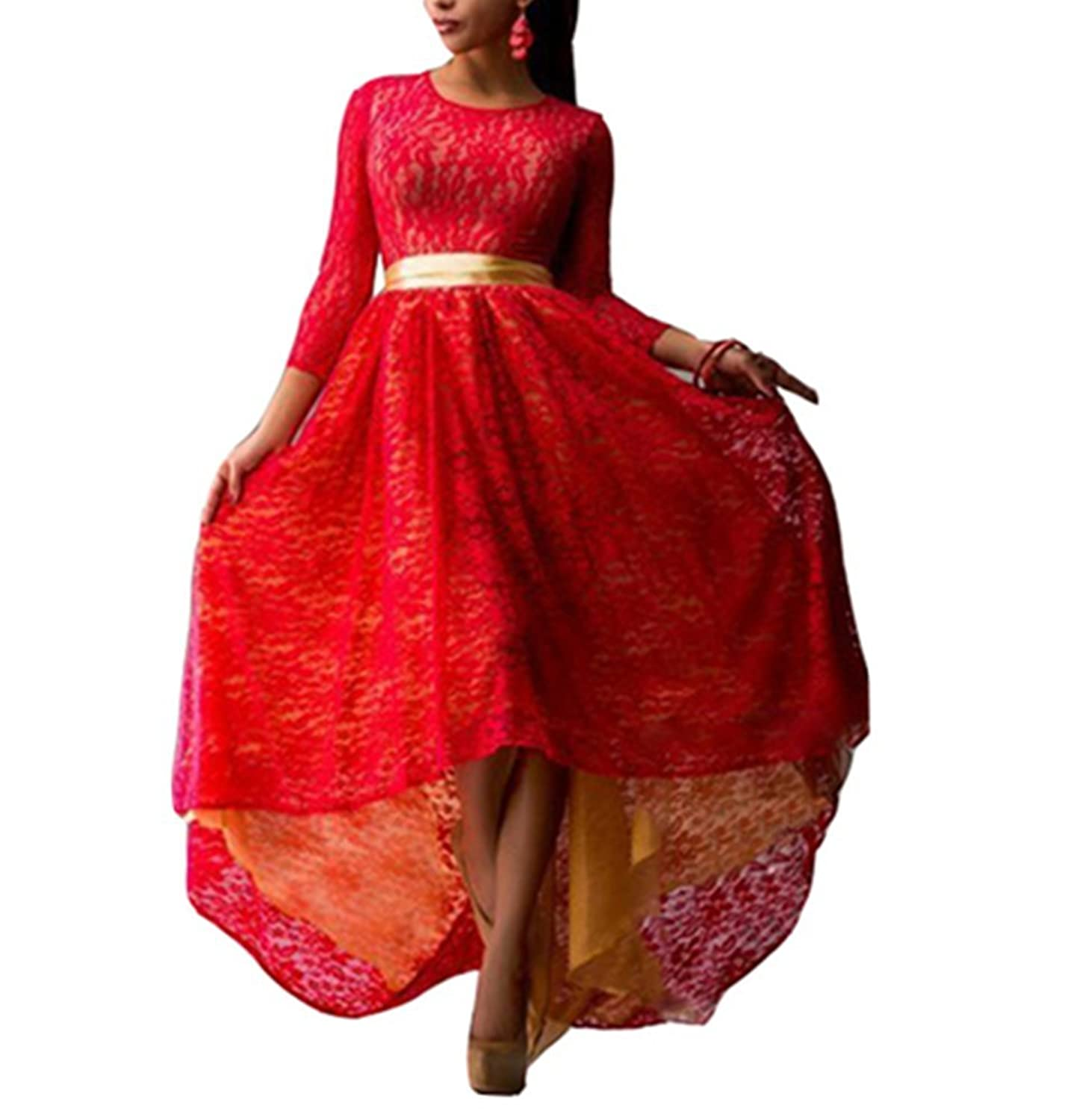 Snow Lotus Women's Before Long After Short Lace Beach Ball Gown