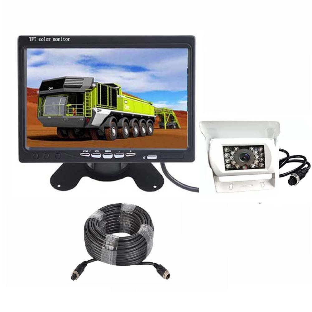 White 4 Pin Car Backup Camera Monitor Rear View Kit 12V-24V 18 LED IR Night Vision Reverse Camera + 7' LCD TFT Screen Vehicle Parking System with 15m/49ft Cable for Bus/Long Truck/Trailer/RV zhanhongxiang
