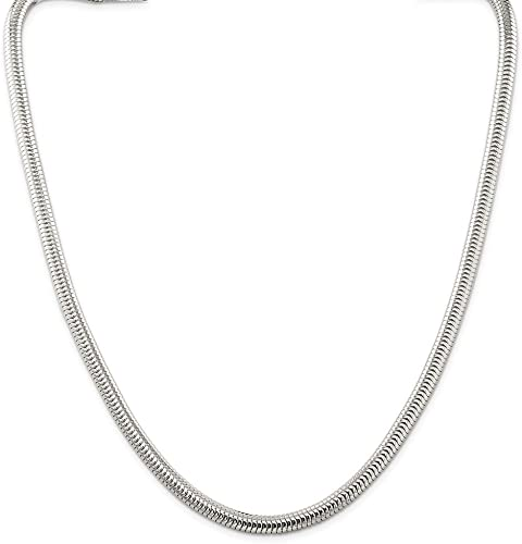 Sterling Silver 24in 6mm Round Snake Necklace Chain