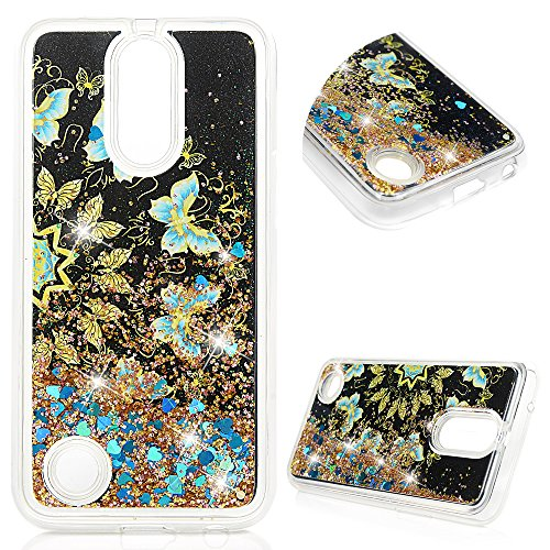 LG K10 2017 Case, Liquid Glitter Case Bling Sparkle Shiny Cover Flowing Floating Moving Love Heart Glitter Clear Ultra Slim TPU Bumper for LG K10 2017 - Black Bottom and Blue Gold Butterfly -