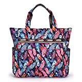 Hipiwe Large Travel Tote Bag for Women Girls Lightweight Shoulder Bag With Pockets Foldable Floral Water Resistant Beach Tote Bag Handbag for Shopping Gym Picnic (Colorful Feather)