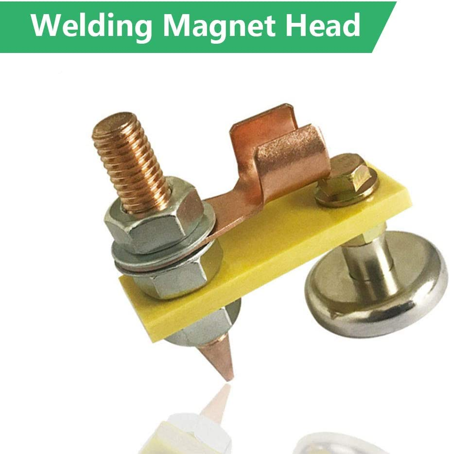 Welding Magnet Head,Copper Tail Welding Stability Magnetic Welding Ground Clamp Magnetic Welding Support with Wire 2pcs