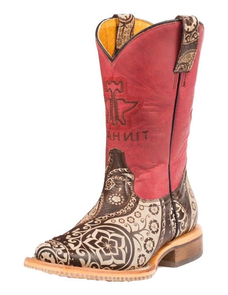 Tin Haul Shoes Girls' Paisley Rocks Western Boot, Brown, 10 Medium US Toddler