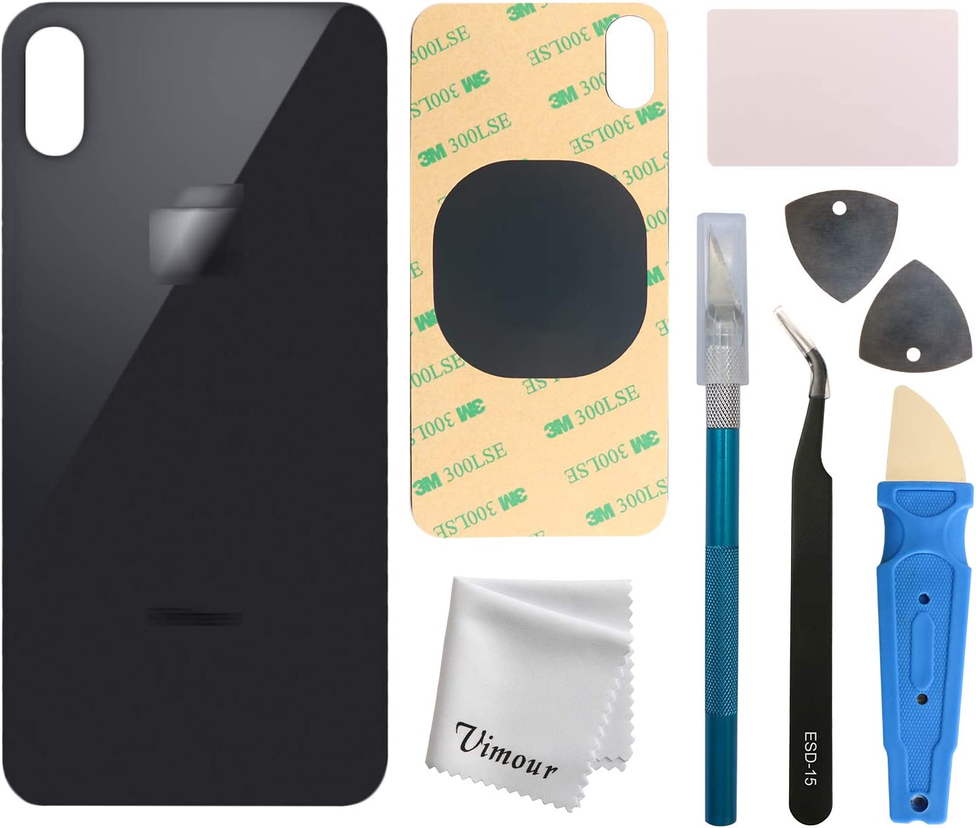 Vimour Back Glass Replacement for iPhone Xs Max 6.5 Inches All Carriers with Pre-Installed Adhesive and Repair Tool Kits (Black)