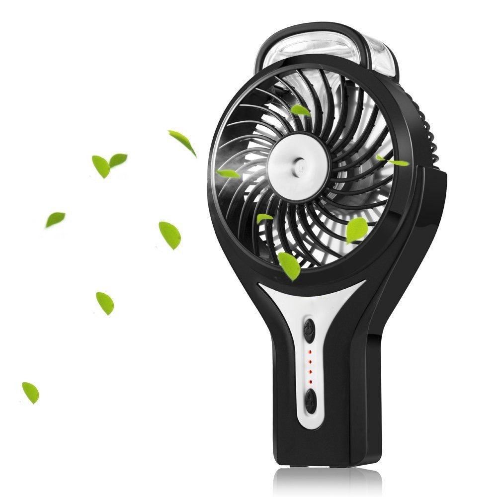 Welltop Mini Handheld USB Misting Fan with Personal Cooling Mist Humidifier Rechargeable Portable Mini Misting Cooling Fan for Home Office and Travel (Black)