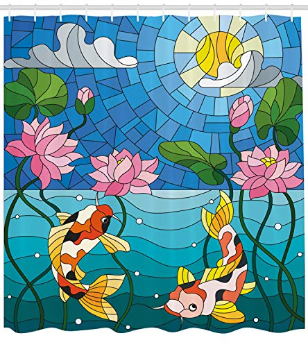 hower Curtain by, Stained Glass with Asian Details Mosaic Lotus Flowers Sun Fish Oriental Work, Fabric Bathroom Decor Set with Hooks, 75 Inches Long, Blue Multicolor ()