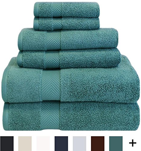 "Superior Collection 6-Piece Zero Twist Cotton Super Soft and Absorbent Towel Set - COMPLETE SET: This towel set includes 1 bath towel (30"" x 54""), 1 hand towel (16"" x 30"") and 1 face towel (13"" x 13"") ABSORBENT AND LIGHT WEIGHT: These fluffy towels have zero twist construction so they're soft, absorbent and light weight 100% LONG-STAPLE COTTON: Made of pure long staple cotton, these bath towels are luxuriously soft without sacrificing durability and strength - bathroom-linens, bathroom, bath-towels - 61ARIP5qljL -"
