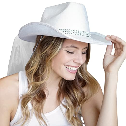 fdfa4114504 Country Western Bling Rhinestone band White Hat with White Veil - Cowgirl  Bachelorette Party or Bridal