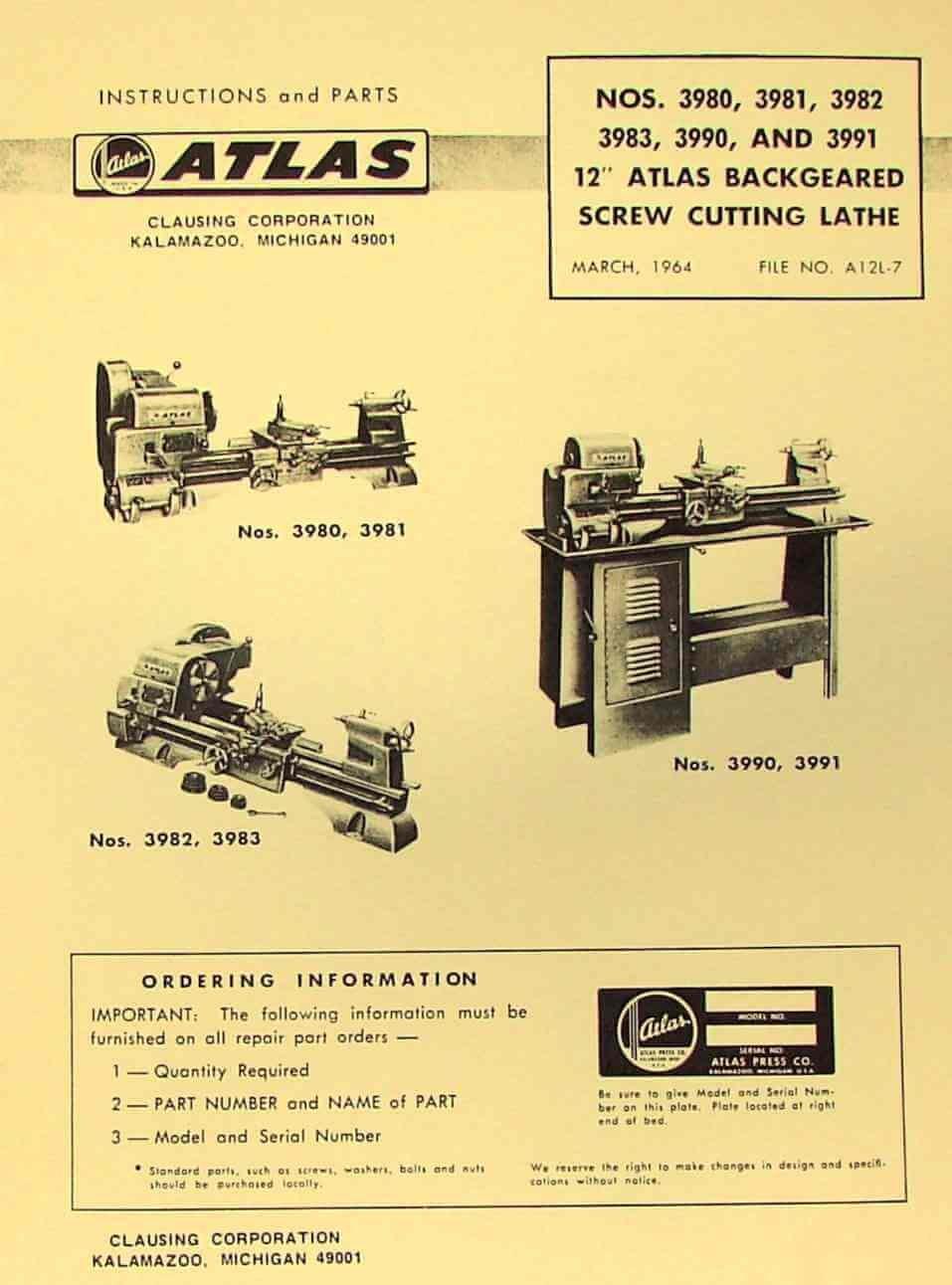 Atlas Craftsman 12 Metal Lathe 3980 3981 3982 3983 3990 3991 Sewing Machine Threading Diagram Parts Manual Misc Books