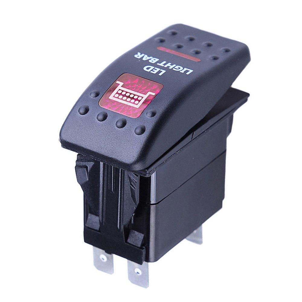 E Support/™ 12V Auto KFZ Rot LED Lichtleiste Beleuchtet Wippenschalter Kippschalter Auto-Armaturenbrett Schalter Zombie Light