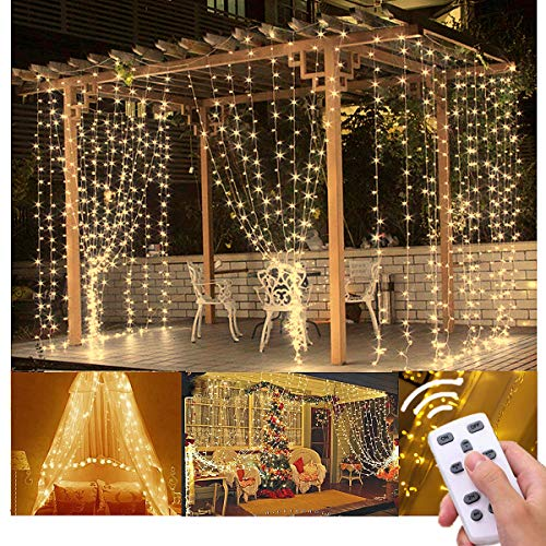 Lightess Curtain String Lights Remote Control 300 LED Window Fairy Light 8 Mode Outdoor/Indoor Use for Christmas Home Garden Patio Lawn Wedding Birthday Party Holiday Decoration (Warm White) from Lightess