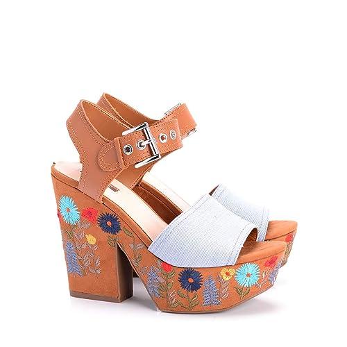 online store fd854 f317b Guess Donna Sandali Tacco FLCAA1 DEN03 Blu Sandalo con Plateau caralin