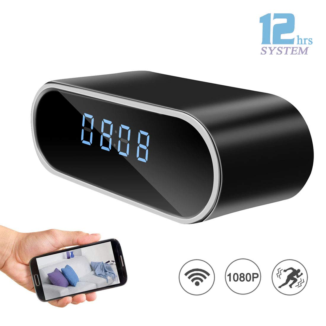 DareTang HD 1080P WiFi Hidden Spy Camera Alarm Clock Night Vision/Motion Detection/Loop Recording Home Surveillance Cameras by DareTang