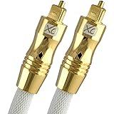 Câble Optique Audio Numérique XO 1m TosLink SPDIF - Blanc, gamme GOLD. Connecteurs en plaqué or 24 carats - Compatible avec PS4/3, Xbox One, Wii, Canal Sat HD, TVs HD, DVD, Blu-Rays, Amp AV.