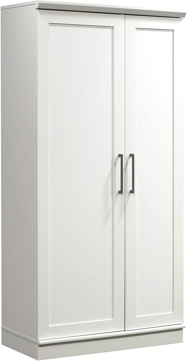 "Sauder HomePlus Storage Cabinet, L: 35.35"" x W: 17.09"" x H: 71.22"", Soft White finish"