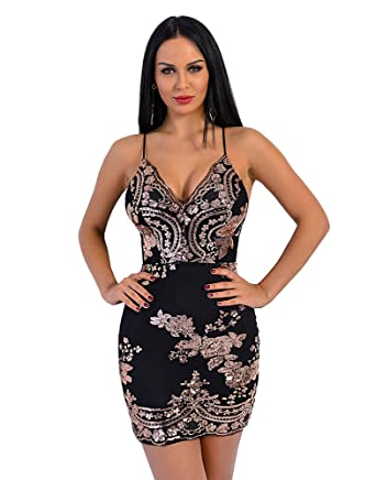 Miss ord Missord Women s V Neck Spaghetti Strap Sequin Backless Mini  Cocktail Slip Dress Black XS f8ef36b6ebda