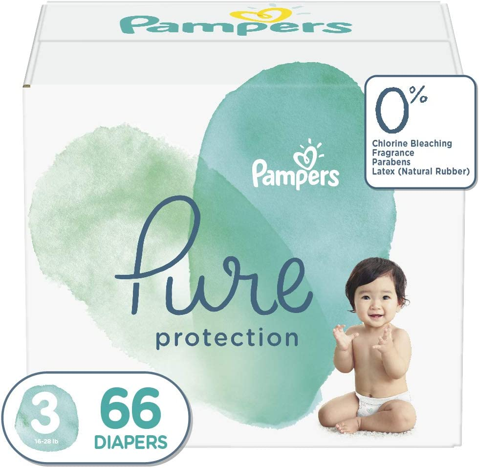 Diapers Size 3, 66 Count - Pampers Pure Protection Disposable Baby Diapers, Hypoallergenic and Unscented Protection, Super Pack