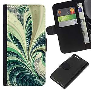 """Be-Star la tarjeta de Cr¨¦dito Slots PU Funda de cuero Monedero caso cubierta de piel Para Apple iPhone 5C ( Arte Fern Forest Green Plant Naturaleza Espiral"""" )"""
