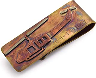 product image for Artisan-Crafted Bronze Money Clip with UH-1 Huey Military Helicopter Design