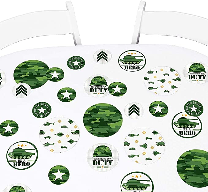 Big Dot of Happiness Camo Hero - Army Military Camouflage Party Giant Circle Confetti - Party Decorations - Large Confetti 27 Count