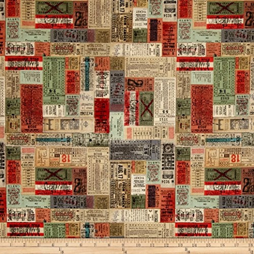 - Coats & Clark 0465455 Tim Holtz Electic Elements Correspondence Transportation Tickets Fabric by The Yard, Multi