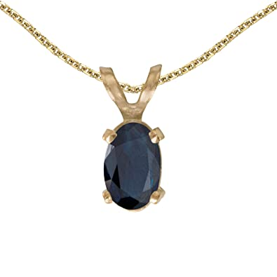 Amazon 14k yellow gold oval sapphire pendant with 18 chain 14k yellow gold oval sapphire pendant with 18quot aloadofball Choice Image
