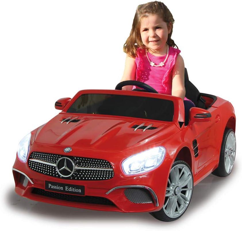 Jamara 460437 Ride-on Mercedes-Benz SL 400 Rojo 12V-Arranque sin Llave AUX Slot Micro SD Color Luces LED Bater/ía Potente Claxon USB Ruedas con Anillo de Goma Ultra-Grip