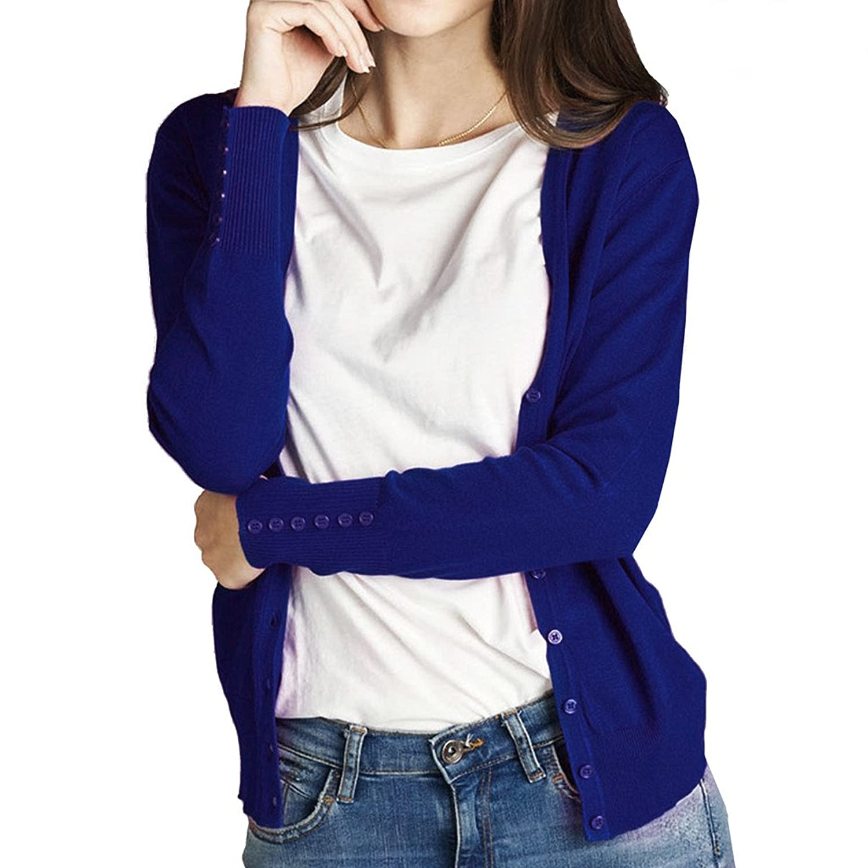 Women's Classic Basic Long Sleeve Button Down V-Neck Soft Knit Cargdigan