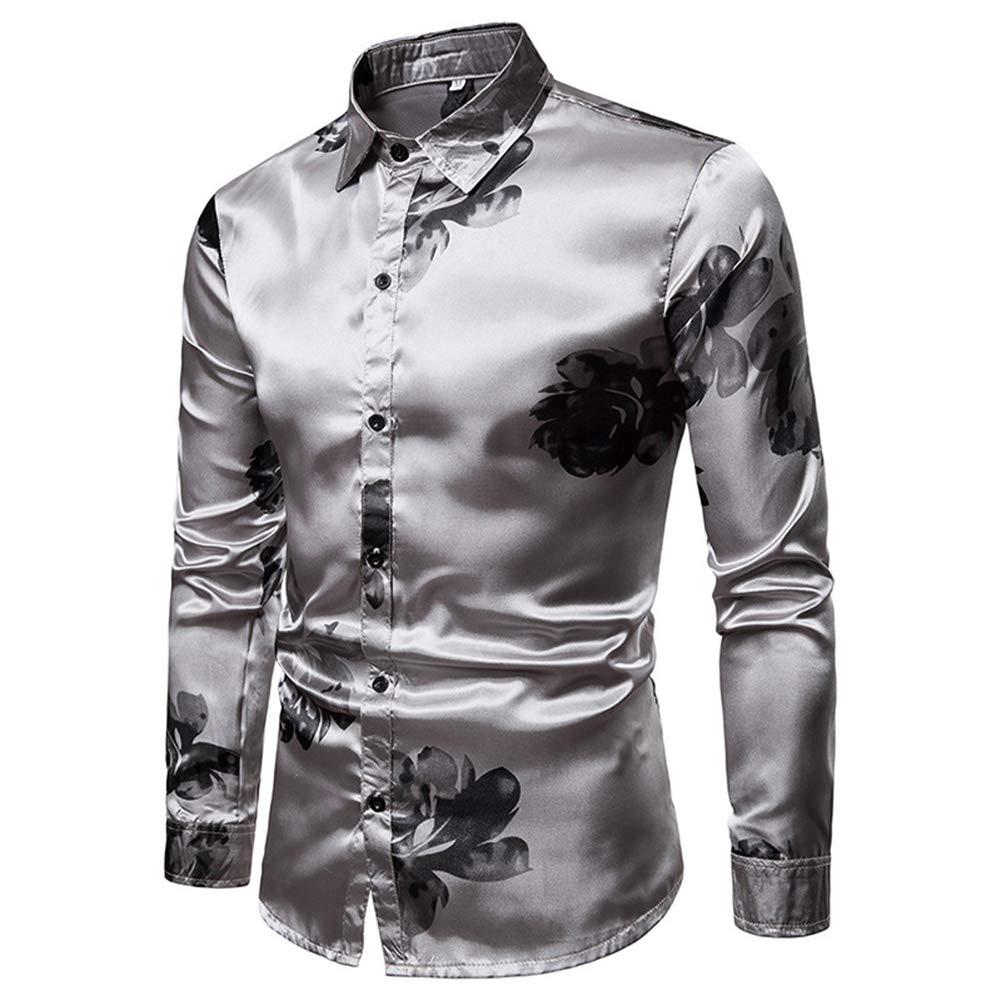 Mens Button Down Stylish Long Sleeve Floral Print Shirt