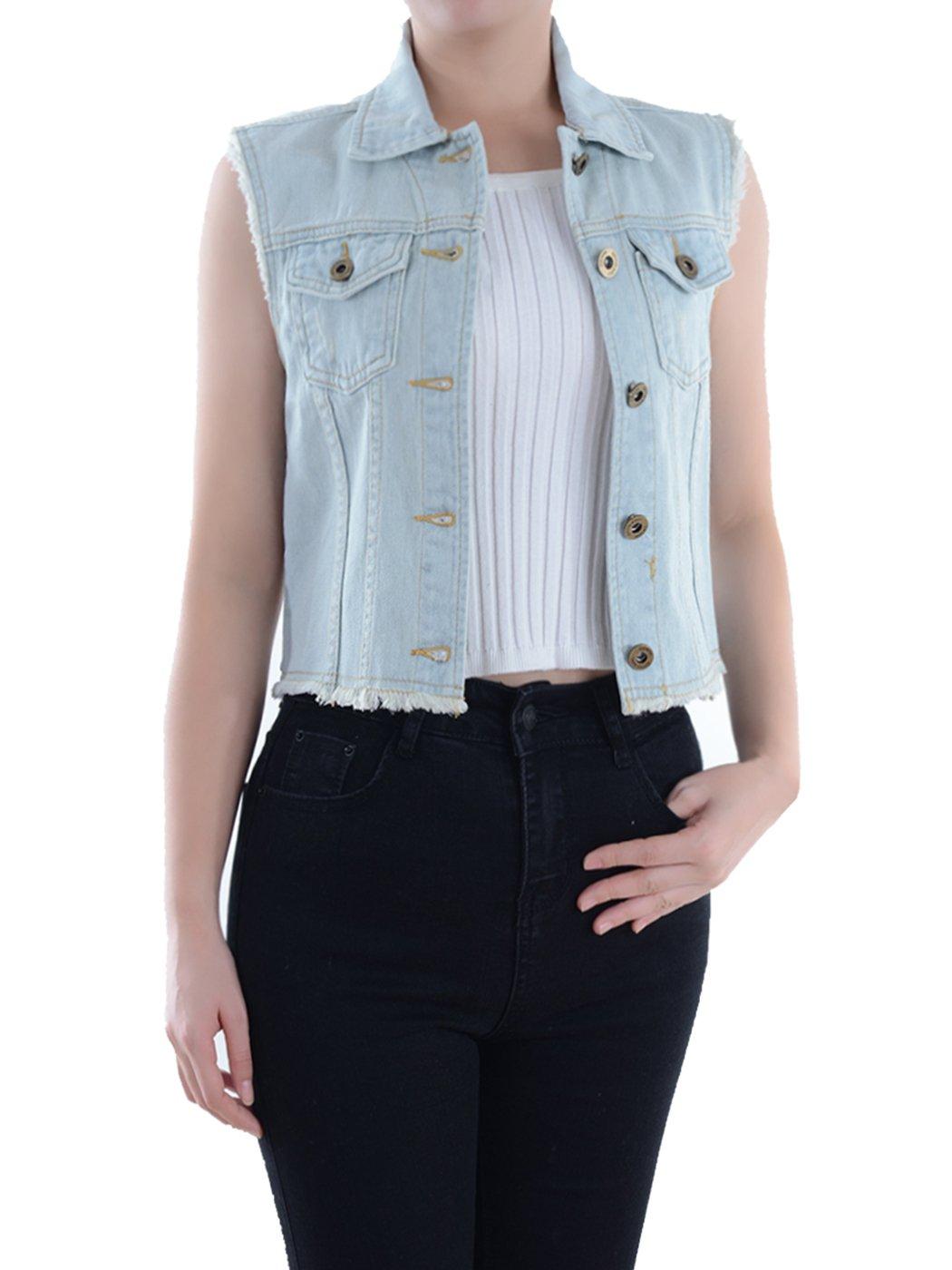 Anna-Kaci Wash Blue Denim Distressed Frayed Button up Sleeveless Crop Vest Y2205P
