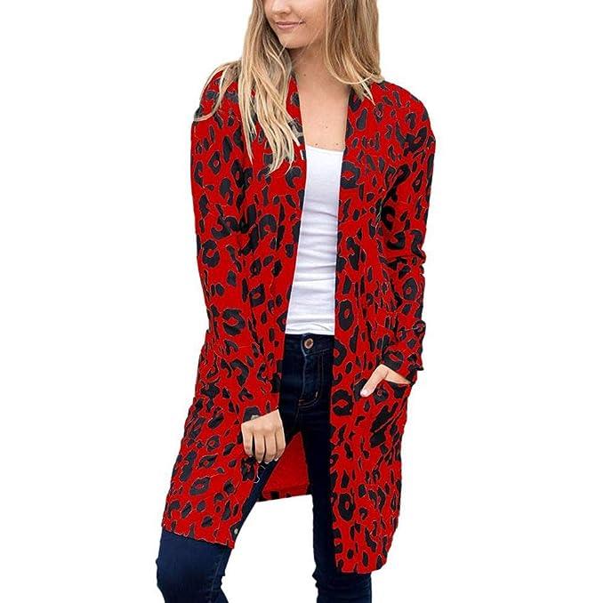 Abrigos de la Mujer, TWBB Mujer Manga Larga Estampado De Leopardo Bolsillo Moda Capa Blusa Camiseta Top Cardigan Promoción: Amazon.es: Ropa y accesorios