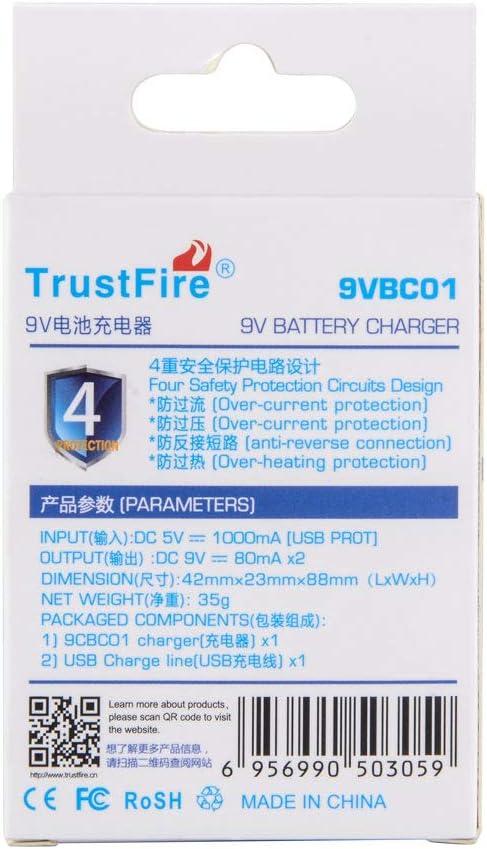 TrustFire 9VBC01 cargador de bater/ía de 9 V para bater/ía recargable de iones de litio Ni-MH de 9 V con cable de carga USB