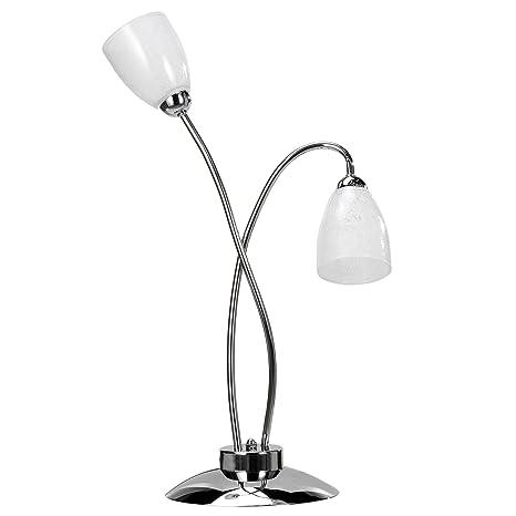 onli lámpara de mesa de metal cromado brillante y tulipas de ...