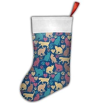 Vintage Seamless Patrón De Gatos barato calcetín de Navidad medias calcetines de Navidad regalos personalizados Navidad: Amazon.es: Hogar