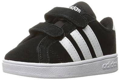 adidas Performance Boys' Baseline Cmf Inf Sneaker, Black/White/Black, 5