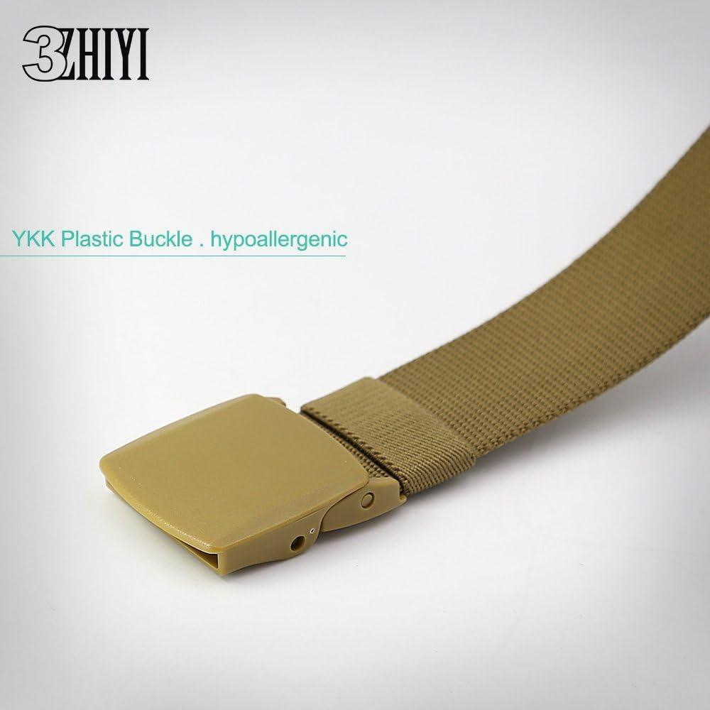 3ZHIYI Pl/ástico Hebilla Nylon Mens Cinturones De Estilo Militar Ligero 49,2  53
