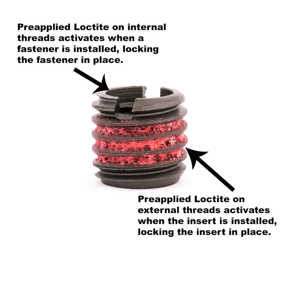 Carbon Steel Pack of 10 Screw Locking E-Z LOK Threaded Insert for Metal 5//16-18 x 1//2-13