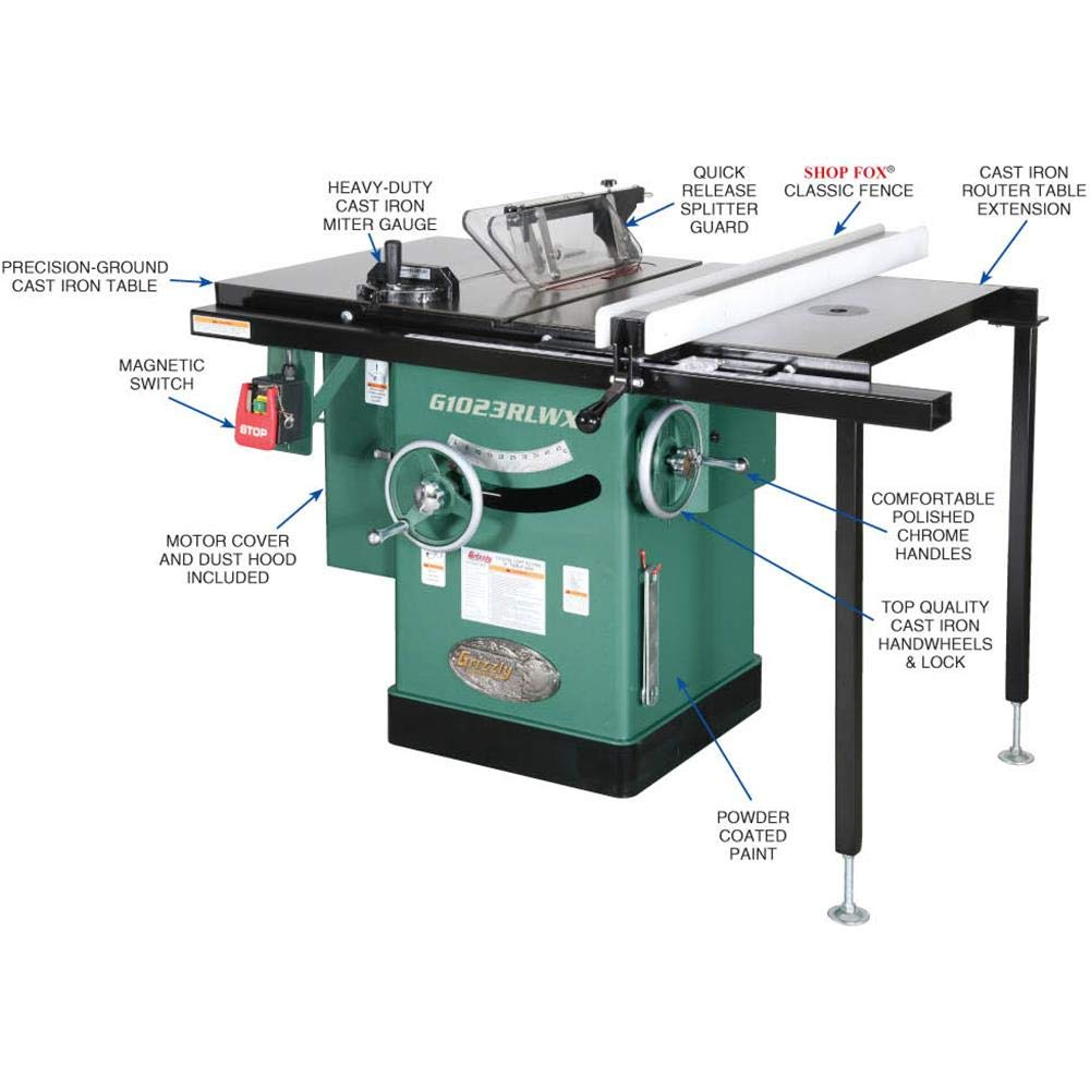 Grizzly Industrial G1023RLWX – 10 5 HP 240V Cabinet Left-Tilting Table Saw