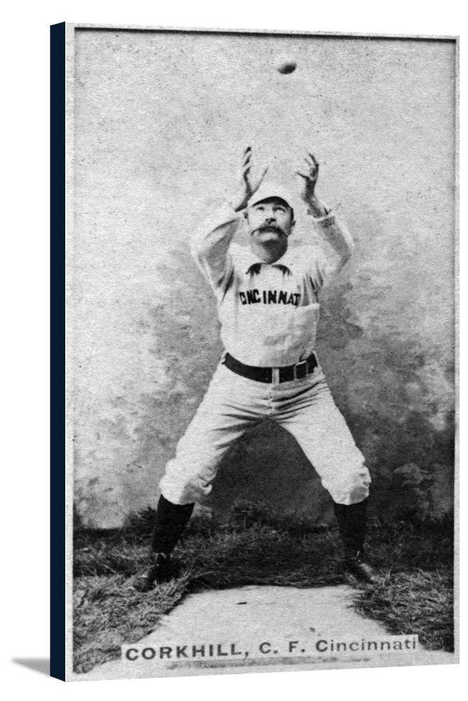Cincinnatiレッドストッキング – Pop Corkhill – 野球カード 20 1/2 x 36 Gallery Canvas LANT-3P-SC-22190-24x36 20 1/2 x 36 Gallery Canvas  B0184A37XY